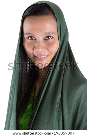 Asian Muslim Asian woman with a green head scarf over white background