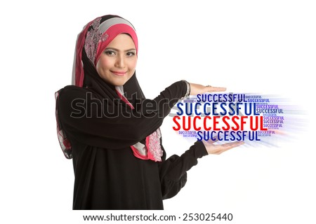 Asian Muslim woman present text of SUCCESSFUL isolated on white background.  - stock photo