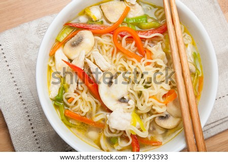 Asian noodle soup with chicken,mushrooms and vegetables in a bowl