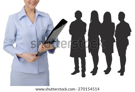 Asian Nurse in uniform and black object on  white background.Medical person for health insurance. - stock photo