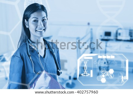 Asian nurse with stethoscope looking at the camera against empty bed in the hospital room - stock photo