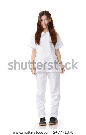 Asian nurse woman, full length portrait on white background.