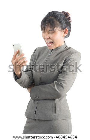 Asian office worker series : Upset with her phone
