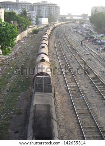 Asian oil container train - stock photo