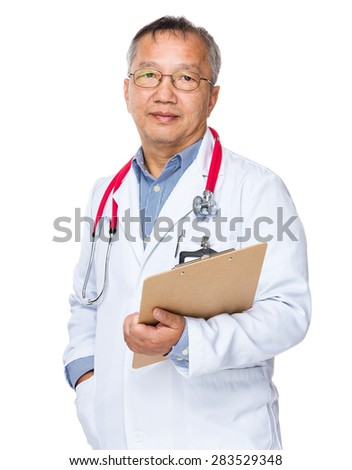 Asian old doctor holding with clipboard