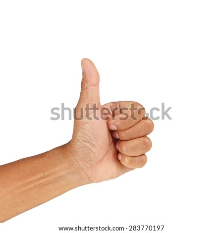 Asian Old man hand with thumb up isolated on white background