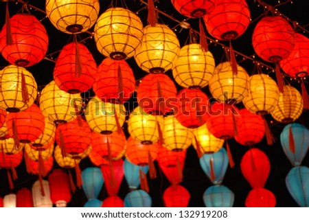 Asian paper lanterns - stock photo