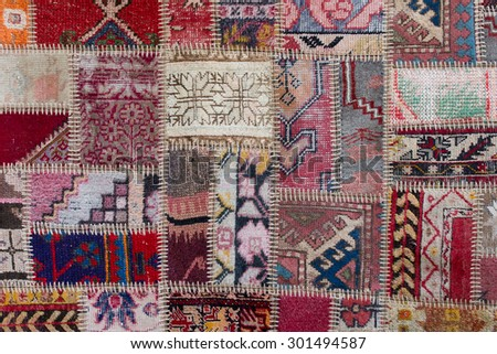 Asian patchwork carpet in Istanbul, Turkey. Close up