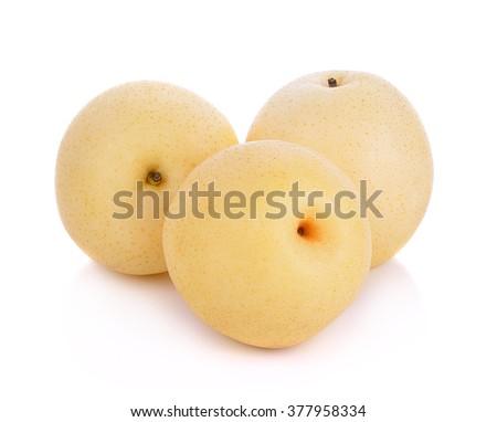 asian-pear fruit on white background - stock photo