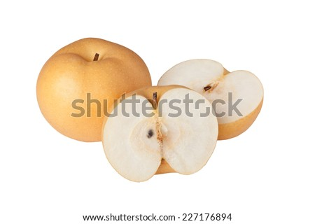 Asian pears isolated on white background  - stock photo