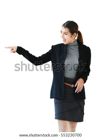 Asian people businesswoman, business women isolated white background. Business woman standing and finger pointing