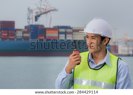 Asian Port Engineer Supervision - stock photo