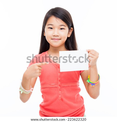 Asian preety girl shwoing empty card isolated on white.
