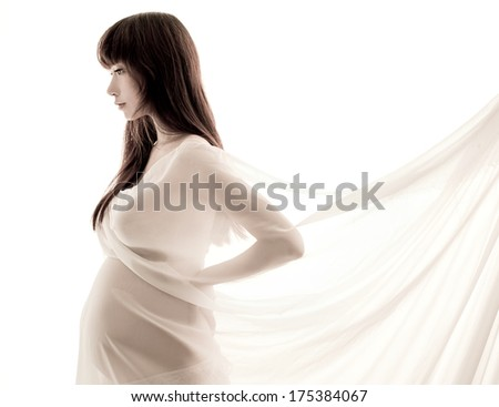 asian Pregnant woman white gauze kerchief with belly