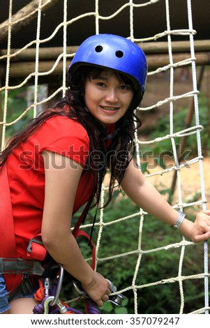 asian pretty woman activity outdoor hiking