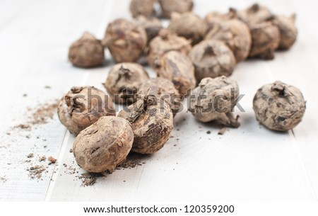 Asian produce water chestnut vertical - stock photo