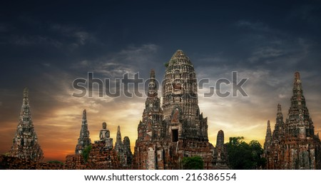 Asian religious architecture. Amazing panorama view of ancient Chai Watthanaram temple ruins under sunset sky. Ayutthaya, Thailand travel landscape and destinations