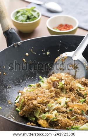 Asian Restaurant Food, Glass Noodle Stir Fried (Pad Woon Sen) - stock photo