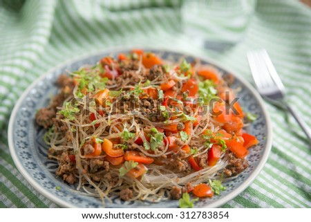 Asian rice noodle beef salad