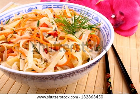 Asian rice noodle with chicken meat, chopsticks and sauce - stock photo