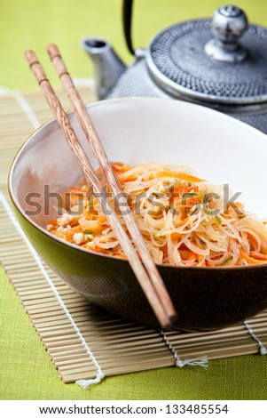 Asian salad with cellophane noodles and vegetables stock photo