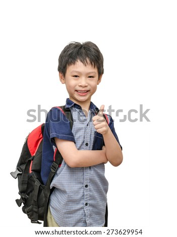 Asian schoolboy with backpack smiles and show thumb up