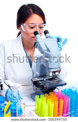 Asian Scientific woman working in laboratory. Medical research.