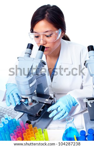 Asian Scientific woman working in laboratory. Medical research. - stock photo