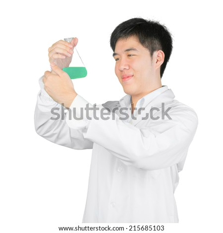 Asian scientist holding a flask of liquid, isolated on white clipping path