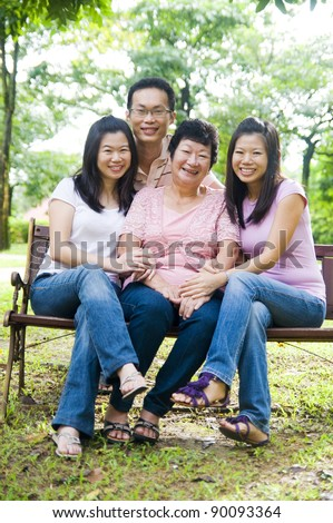 asian senior woman and children