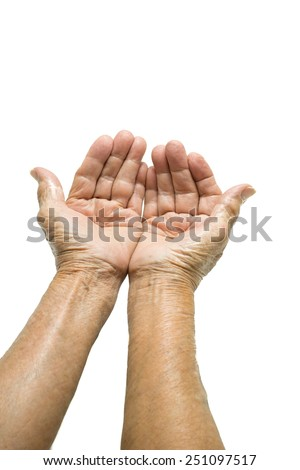 Asian Senior woman's hand begging isolated on white background
