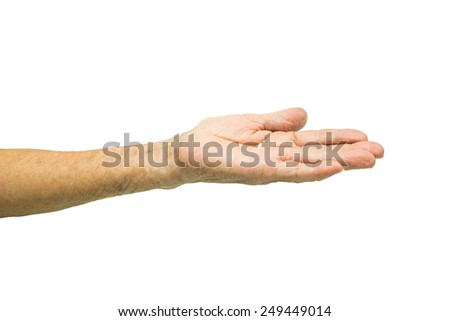 Asian Senior woman's hand isolated on white background