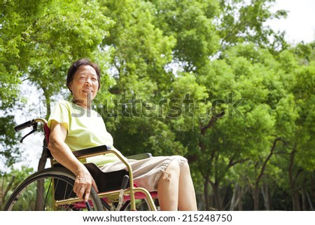 Asian senior woman sitting on a wheelchai in the park - stock photo