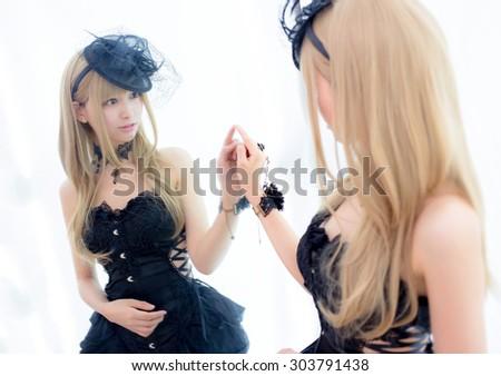 asian sexy fashion girl lady korean style in mirror room - stock photo