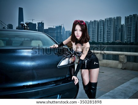 asian sexy Girl in car model