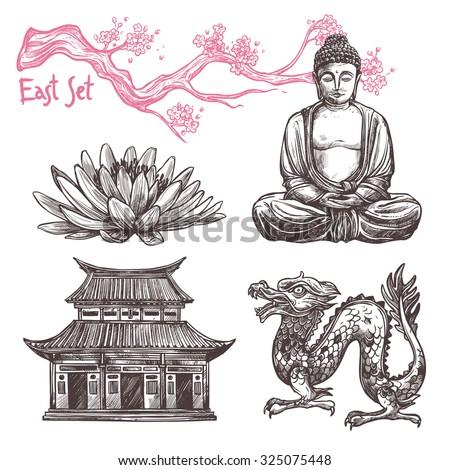Asian sketch set with lotus buddha dragon sakura branch isolated  illustration - stock photo