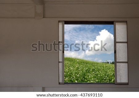 Asian sliding doors and beautiful landscape in summer