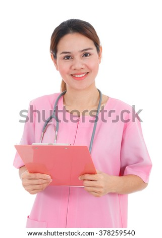 Asian smiling nurse holding clipboard isolated on white background - stock photo
