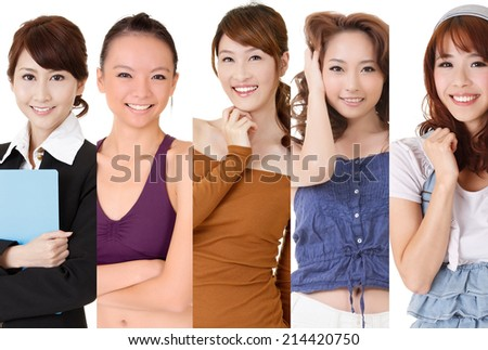 Asian smiling woman, closeup portrait collection.
