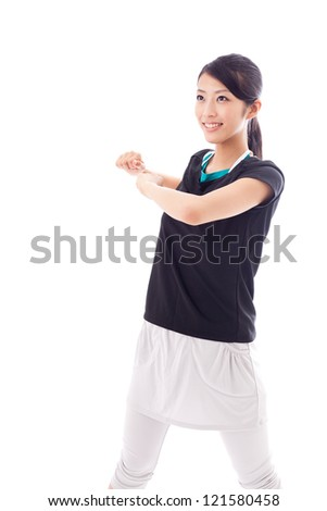 asian sporty woman exercising on white background