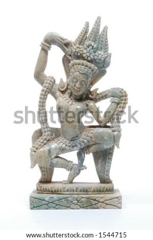 Asian statue of an apsara, a female spirit of the clouds and waters in Hindu and Buddhist mythology.