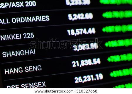 asian stock market chart,Stock market data on LED display concept - stock photo