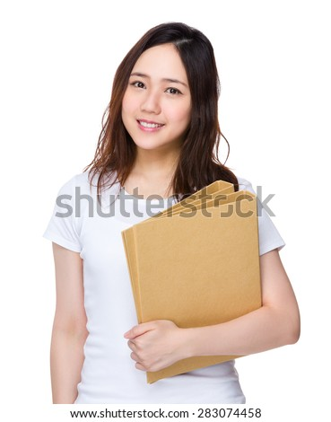 Asian student hold with folder - stock photo