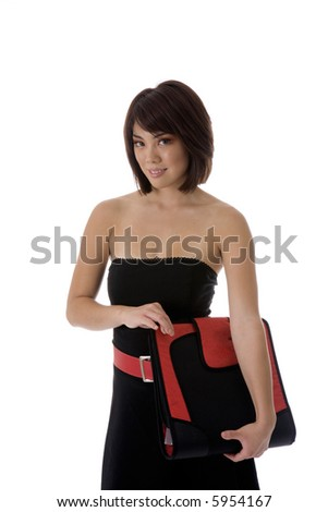 Asian student holding red and black binder dressed in a red and black dress, isolated on white background - stock photo