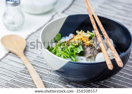 Asian style beef noodles in soup, Beef noodle with meatballs