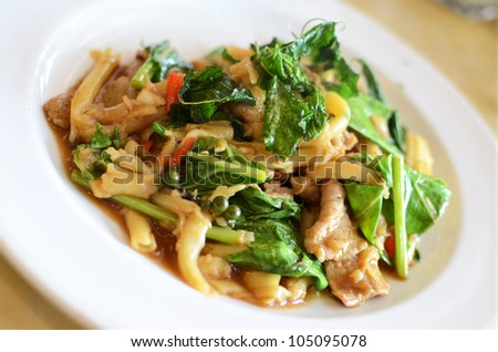 Asian style noodle with pork and vegetables , Asian style food - stock photo