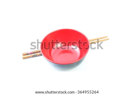 asian style red bowl and chopstick on white background - stock photo