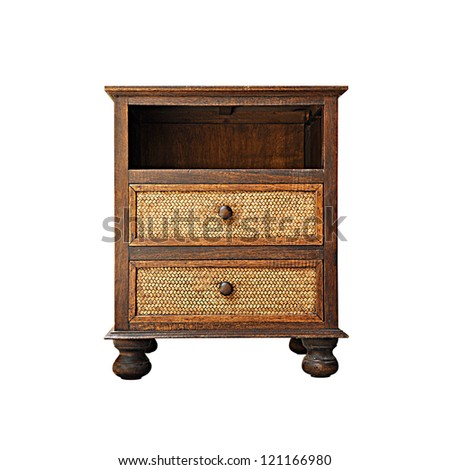 Asian style wooden nightstand - isolated - stock photo
