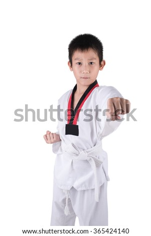 Asian Taekwondo boy posting on white background with clipping path