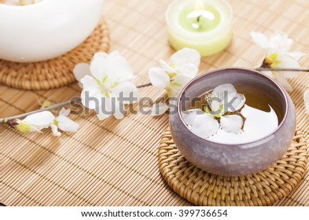 Asian tea set on bamboo mat,Closeup.